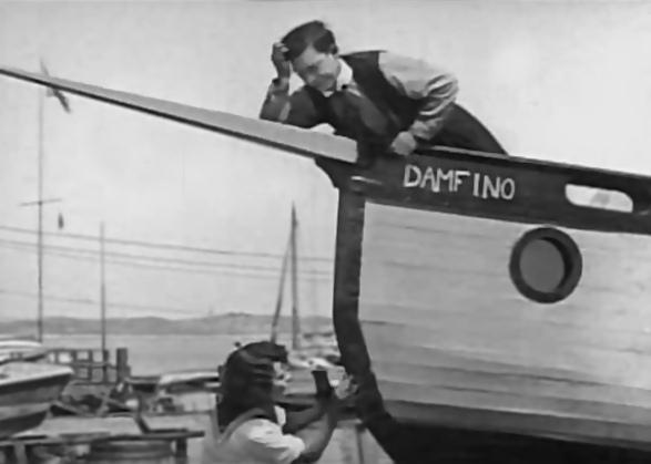 Stillbild från The Boat från 1921, Sibyl Seely och Buster Keaton.
